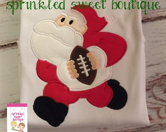 Santa Football Sports Christmas Boys Merry Christmas Holiday Custom Shirt Boy Monogram