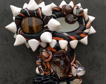 Mini Vagina Dentata Mirror Fruitbowl with Tiger's Eye and Mixed Semi Precious Gemstones