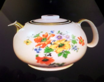 Vintage WS George-Ranchero Style-Pale Pink Teapot with Colorful Floral Spray-Gold Spout