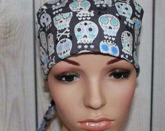 New Charcoal Sugar Skulls,Surgical Scrub Hat ,Nurses Surgical Scrub Hat,  Chemo Cap, Women's Surgical Scrub Hat