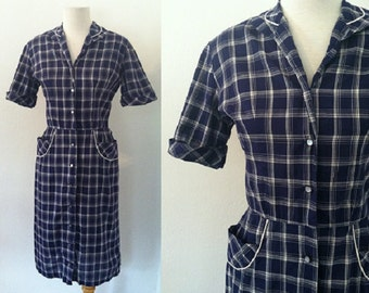 "vintage 1940s dress | 40s dress | blue plaid day dress | 1940s plaid day dress | 26"" waist"