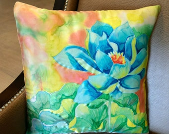 Blue Lotus Cushion Cover