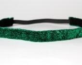 "Emerald Green Sparkle Non-Slip Headband 3/4"", Running Headband, Workout Band, Cheerleading Headband, Fitness Apparel, Princess Half Marathon"