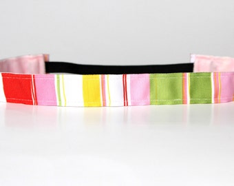 "Sherbert Pastel Striped NonSlip Headband 1"" Gift for Runners, Running Headband, Fitness Headband, Workout Accessory, Yoga Headband, under 5"