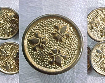 "Vintage Small Buttons with 3 Fleur de Lis - Golden Gilt Metal - 5/8"" - Set of 4 - Crafting Supply - Tiny Picture Buttons - French - Paris"