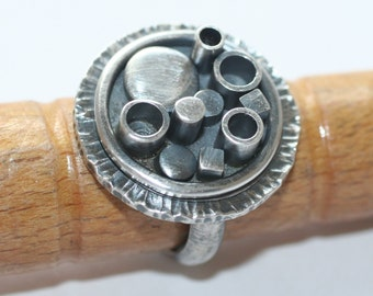 Modern ring, abstract sterling silver ring, size 5, OOAK, ready to ship