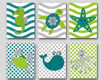 Bathroom Art Print Sea Wall Art Whale Crab Octopus Baby Boy Nursery Art Nursery Wall Art Kids Room Decor Kids Art set of 6 Gray Green Navy