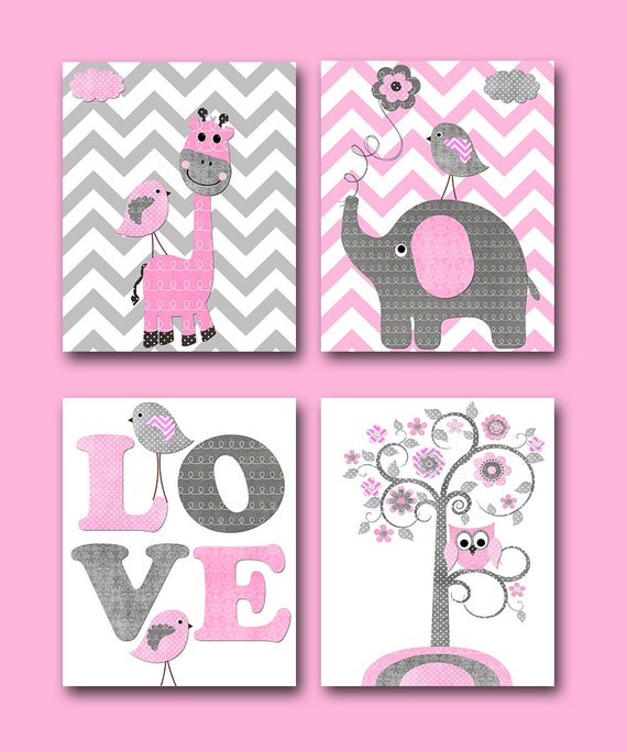 Pink Grey Baby Girl Wall Decor Elephant Giraffe Wall Decor