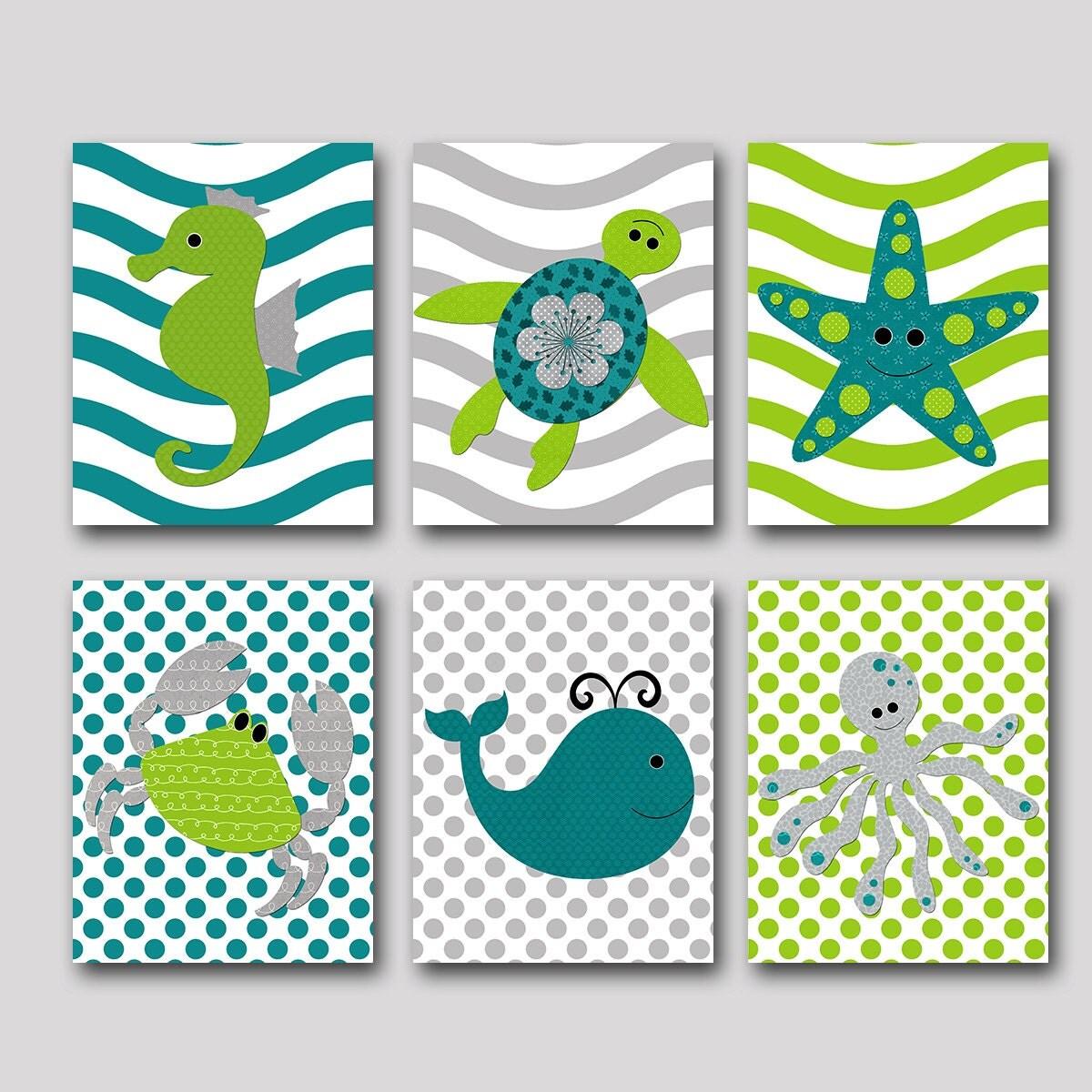 Gray navy nursery print childrens art baby boy nursery decor - Bathroom Art Print Sea Wall Art Whale Crab Octopus Baby Boy