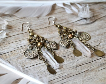 Sale / Raw crystal earrings, bohemian quartz point earrings, ethnic tribal boho jewelry, boho chic earrings