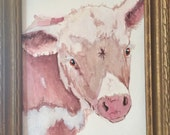 HEREFORD CATTLE COW original one of a kind acrylic painting on watercolor paper art framed