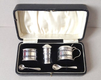 Sterling silver cruet set, Condiment set, Salt Pepper Mustard Pot Spoons, Hallmarked Birmingham 1926, Solid silver pepper shaker, Open salt