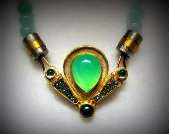 OOAK 18k and Sterling Necklace by Helen Bookin -- Centerpiece with Chrysoprase, Aquamarine, Green Pearl and Druzy with Chalcedony Beads