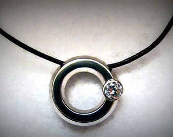 Cool 14k WHITE GOLD, CZ and Black Leather Pendant/Necklace