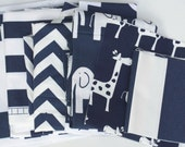Fabric Scraps Bundle, Navy Blue White, Cabana Canopy Giraffe Elephant Zig Zag, Stripes, Home Decor Premier Prints REMNANT CUTS
