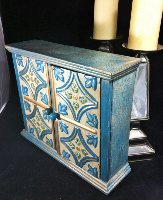 Cot In A Box Morocco Turquoise: Large Apothecary Cabinet Boho Jewelry Cabinet Turquoise And