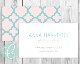 Business Cards / Calling Cards - Printable or Printed - Pink and Turquoise