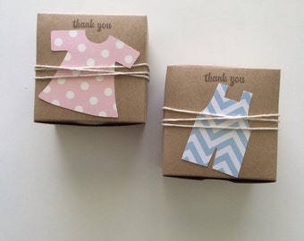 Twin baby shower- Dress and overall Favor Boxes - baby shower favors - gendee reveal shower-
