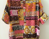 Catherine Ogust Penthouse Gallery Burma Shirt Forever Dress Pink Polynesian Tahiti Print  100% Cotton Vintage Top