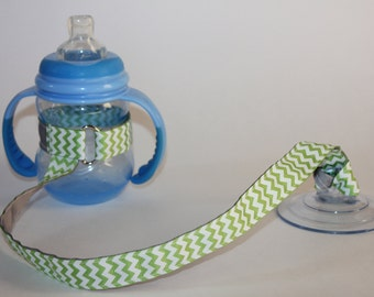 Sippy Cup Leash | Sippy Strap | Sippy Cup Strap Suction Cup | Bottle Tether | Sippy Cup Strap | Suction Sippy Strap | Green Chevron
