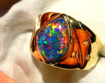 Mens Opal Ring 14ct Yellow Gold Free Form Natural Opal Triplet. 15 x 12mm . item 100460.