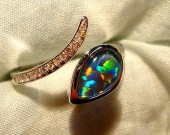 Opal Ring Ladies 14ct White Gold & Diamond 9X6MM Teardrop Shape Triplet. item 100865.