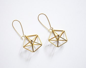 PENTA Earrings. Himmeli inspired geometric earrings, dangle earrings in gold