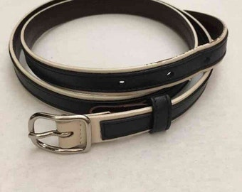 Vintage Coach 3935 Slim Blue Leather Belt Stainless Buckle M