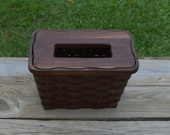 kleenex hand towel holder basket walnut wood