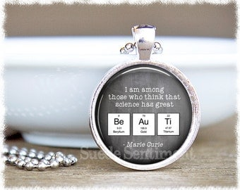 Science Jewelry • Chemistry Necklace • Science Gifts • Periodic Table • Marie Curie Quote