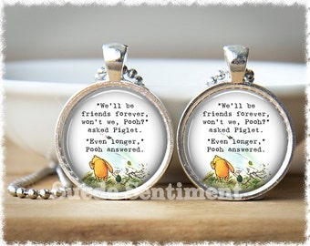 Best Friend Necklace • Long Distance Friendship Jewelry • Sister Gift • Literary Quotes • Gifts For Friends