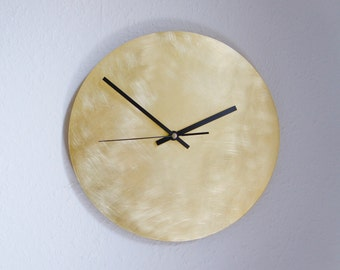Sanded Brass Wall Clock