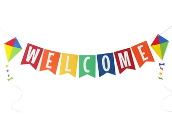 Kite Birthday Banner - Kite Welcome Banner - Welcome Babay Banner - Park Birthday Banner - Colorful Birthday Banner