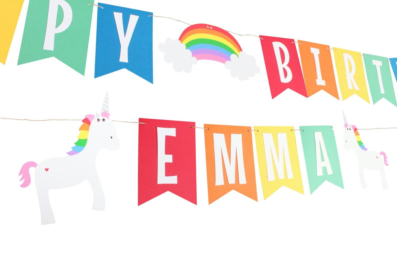 Unicorn Birthday Banner: Unicorn Rainbow Birthday Banner Rainbow Birthday Banner
