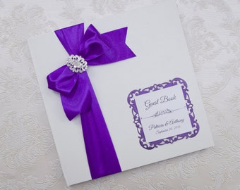 Wedding Guest Book - Personalized - purple