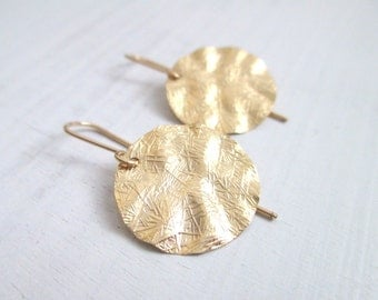 Gold disc earrings, gold earrings, dangle boho chic earrings, gold filled, gold textured earrings