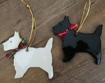 Scottie Dog Ornament,  Scottish Terrier Dog Ornament, Wheaten Terrier Ornament, Wheaten Scottie Ornament, Handmade pottery Dog Ornament