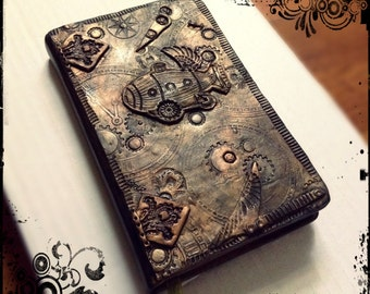 steampunk small lined journal, minimalist art, functional art - pocketbook journal