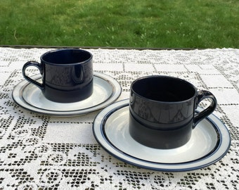 """Dansk Bistro/Cobalt Blue Cups/Flat Cups with White Saucers/Made in Japan /Bisserup Blue Cups/2.5"""" tall Teacups/Dansk Coffee Cups/VGC"""