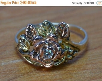 DEADsy LAST GASP SALE Rose Gold and Diamond Flower Ring // Vintage Diamond Engagement Ring // Unique Floral Engagment Ring // Native America