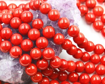 Lot of 5 strands 8mm Bamboo Coral (D) Loose Spacer Beads Round 15.5 inch strand (BD5936)