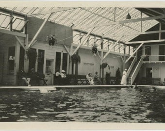 Indoor Swimming Pool, Early 1900s Vintage Snapshot Photo (512437)