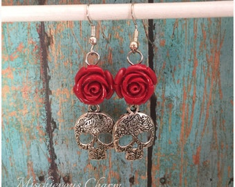 Day of the Dead Dia de Los Muertos Skull and Rose Earrings