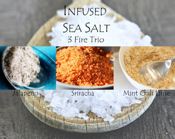 3 Fire Trio of Okinawa Sea Salt infused with spices, herbs and seasonings