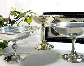 Three Vintage Silverplate Pedestal Compotes
