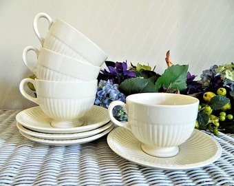 Four Vintage Wedgwood Etruria Edme China Footed Coffee Cups and Saucers England