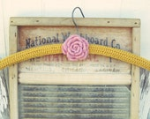 pretty yellow wool rose crocheted hanger
