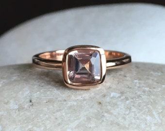 9K Morganite Rose Gold Ring- Cushion Cut Morganite Engagement Ring- Simple Morganite Promise Ring- Square Bezel Anniversary Wedding Ring