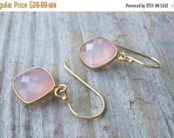 SALE Quartz Earring- Rose Quartz Dangle Earrings- Pink Earrings- Pink Quartz Earrings- Chalcedony Earrings Stone Earrings- Bridesmaids Earri