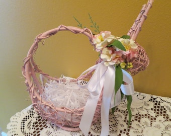 Vintage handmade grapevine bunny basket repurposed pink with Apple blossom garland satin bow hand cut Easter grass tabletop centerpiece